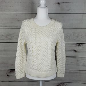 Anthro Knitted & Knotted• M sweater cream